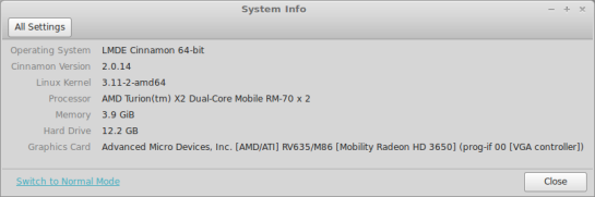 Screenshot : LMDE — System Info.