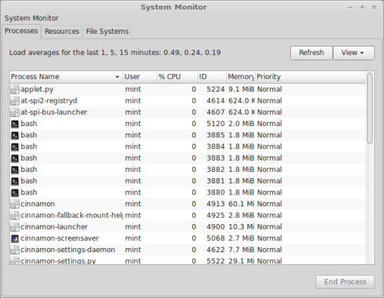 Screenshot : LMDE — System Monitor.